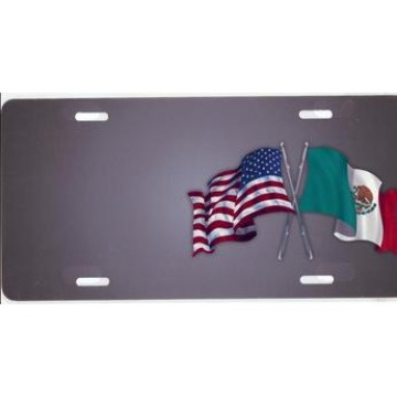 American And Mexican Flags On Gray Offset Airbrush License Plate