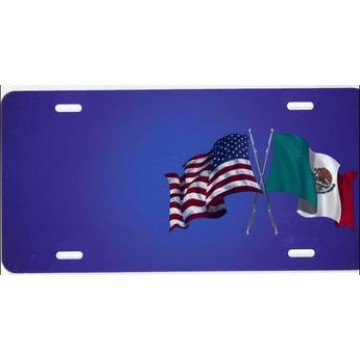 American And Mexican Flags On Blue Offset Airbrush License Plate