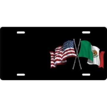 American And Mexican Flags On Black Offset Airbrush License Plate