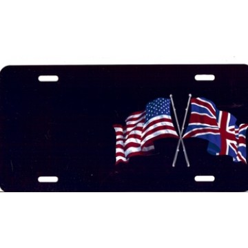 American And British Flags On Black Offset Airbrush License Plate
