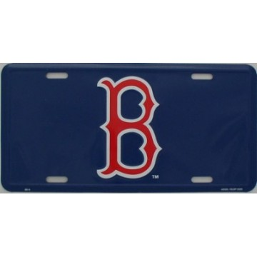 Boston Red Sox Blue Metal License Plate