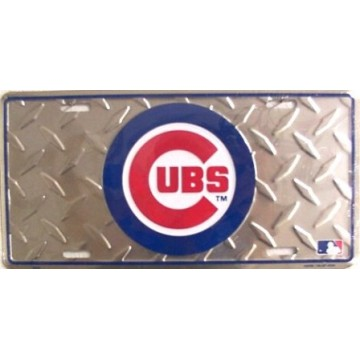 Chicago Cubs Diamond Metal License Plate