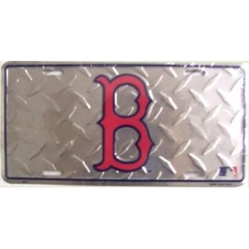 Boston Red Sox Diamond Metal License Plate