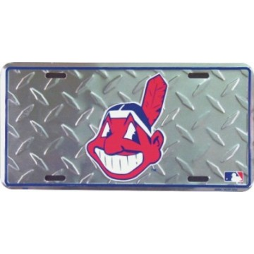Cleveland Indians Diamond Metal License Plate