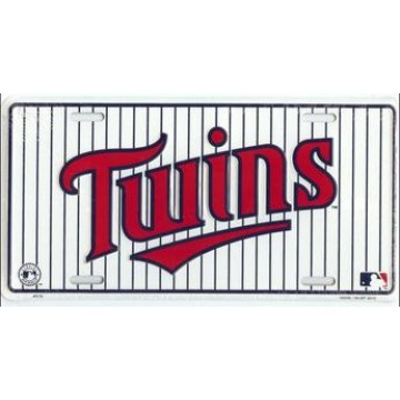 Minnesota Twins Pinstripe Metal License Plate