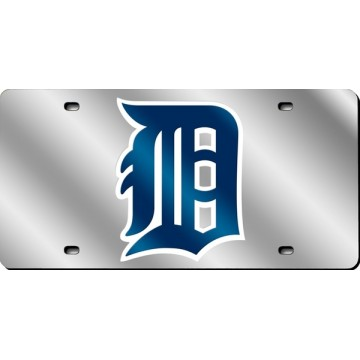 Detroit Tigers Silver Laser License Plate