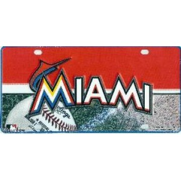 Miami Marlins Metal License Plate