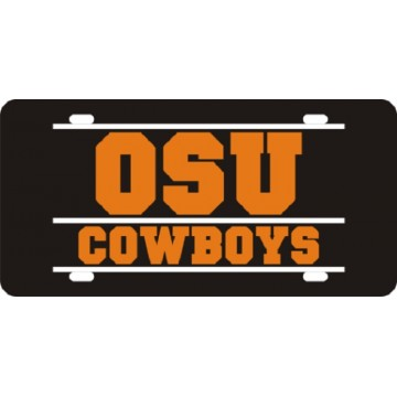 Oklahoma State Cowboys Bar Style Black Laser License Plate