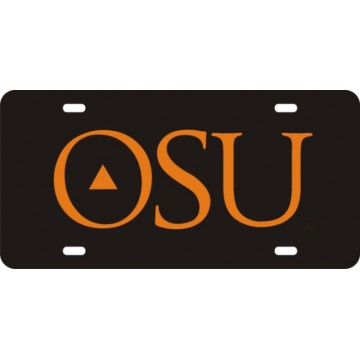 Oklahoma State Cowboys Black Laser License Plate