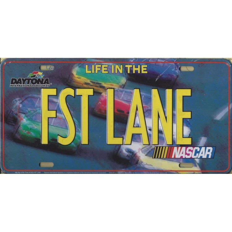Nascar FST LANE Metal License Plate