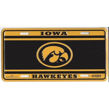 Iowa Hawkeyes Logo Black and Yellow License Plate