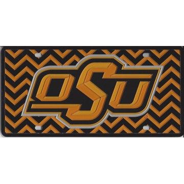 Oklahoma State Cowboys Chevron Laser License Plate