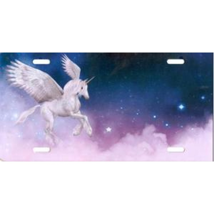 Offset Unicorn In Clouds License Plate