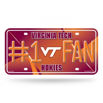 Virginia Tech Hokies #1 Fan Metal License Plate
