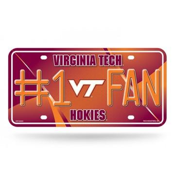 Virginia Tech Hokies #1 Fan Metal License Plate