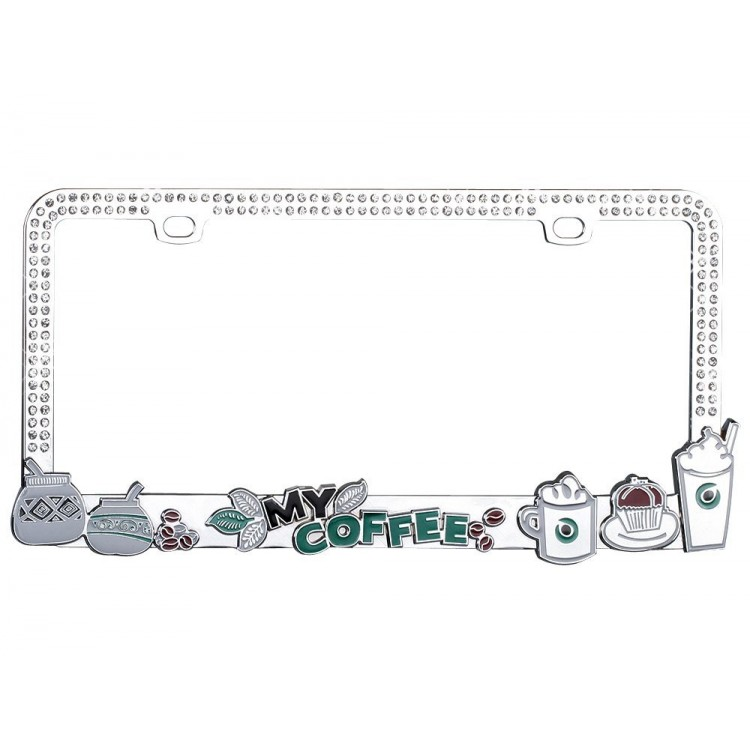 My Coffee Bling Diamond License Plate Frame