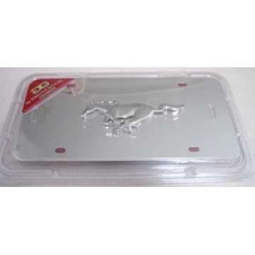 Mustang 3-D Chrome Logo Stainless Steel License Plate