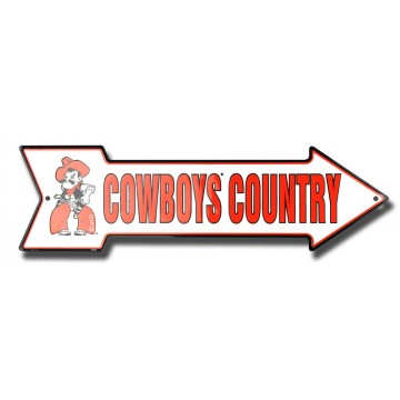 Oklahoma State Cowboys Country Metal Arrow Street Sign