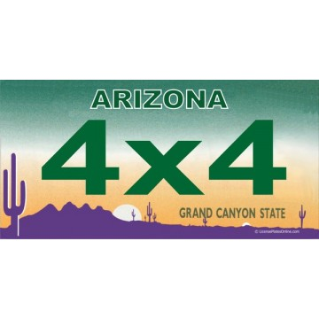 Arizona 4x4 Photo License Plate