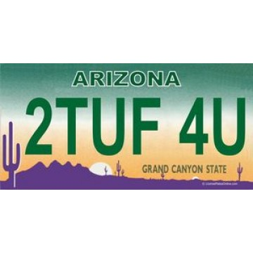 Arizona 2TUF 4U Photo License Plate