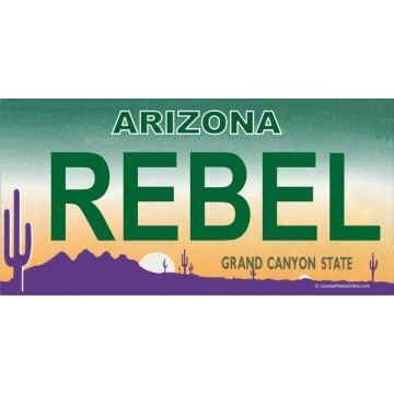 Arizona REBEL Photo License Plate