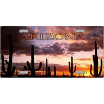 Arizona Sunset With Cactus Metal License Plate