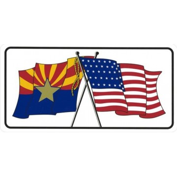 Arizona And United States Crossed Flags Photo License Plate