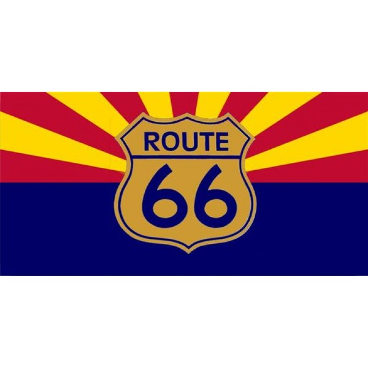 Route 66 Arizona Flag Photo License Plate