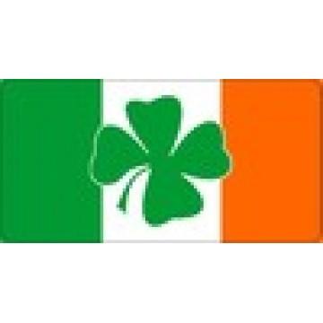 Shamrock Centered On Irish Flag Photo License Plate