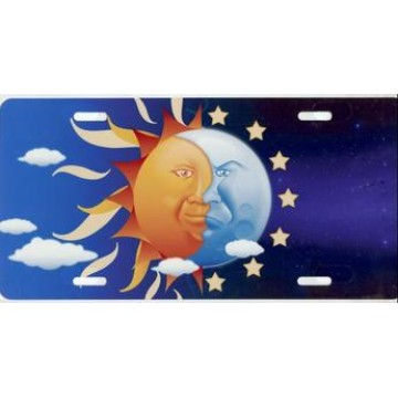 Sun And Moon Airbrush License Plate
