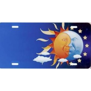 Sun And Moon Offset Airbrush License Plate