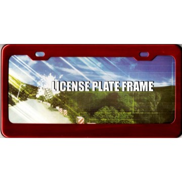 Red Anodized Aluminum License Plate Frame