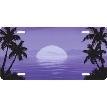 Beach Scene Purple License Plate