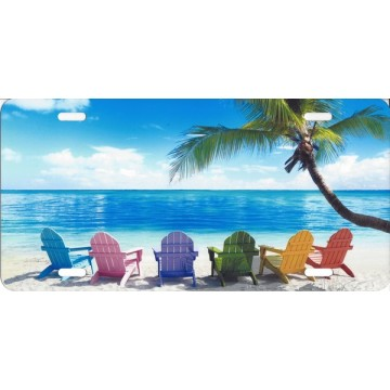 Beach Chairs Airbrush License Plate