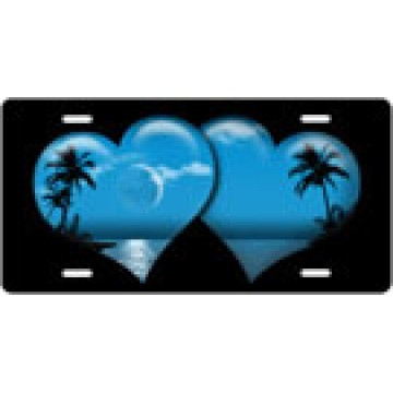 Blue Heart Island Airbrush License Plate