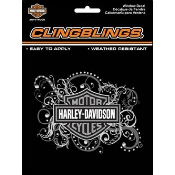 Harley-Davidson Female Bar and Shield  Black And Silver Cling Bling Decal  3D
