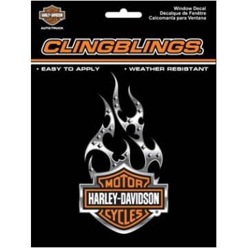 Harley-Davidson Black And Silver Cling Bling Decal  3D