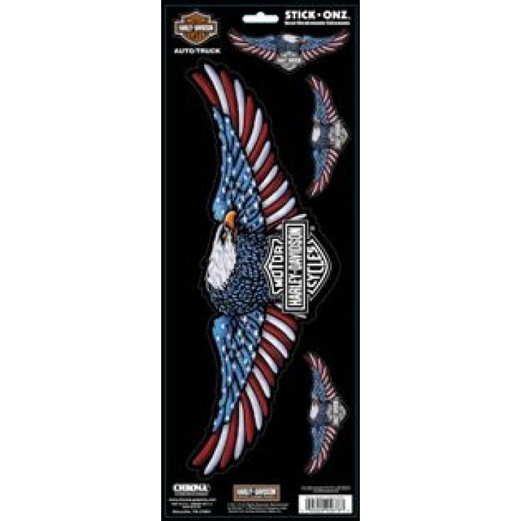 Harley Davidson Redwhiteblue Eagle Stick Onz Decal 4pc