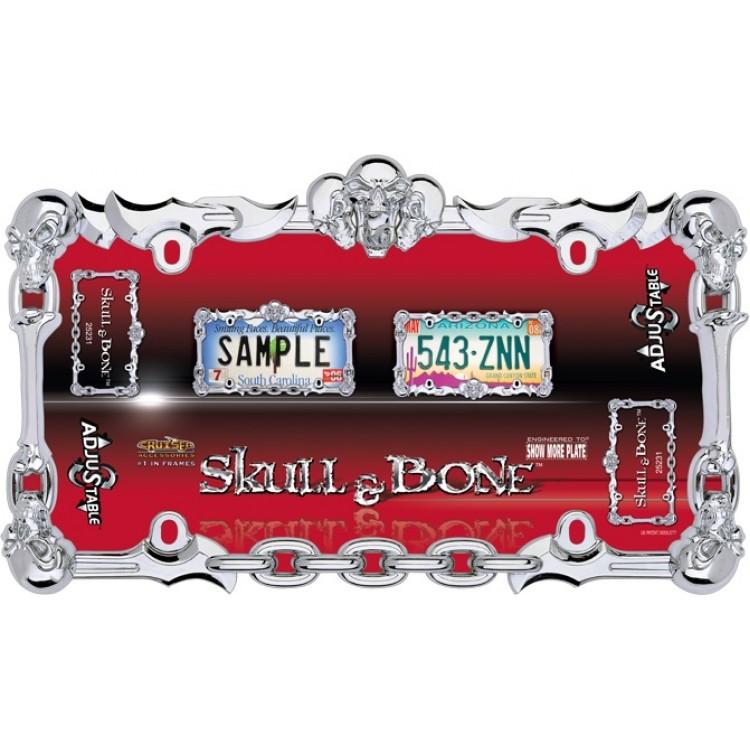 Skull & Bone Chrome License Plate Frame