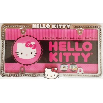 Hello Kitty Pink Bow Face Diamond Stud License Plate Frame
