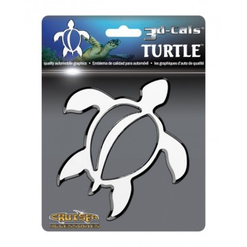 3D Cals Turtle Chrome Plated Plastic Auto Emblem