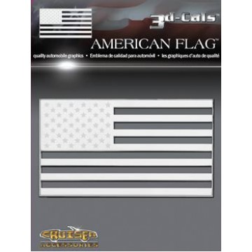 3D Cals American Flag Chrome Plastic Decal