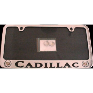 Cadillac Solid Brass Thin Top License Plate Frame