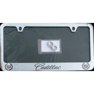 Cadillac (Script) Solid Brass Thin Top License Plate Frame