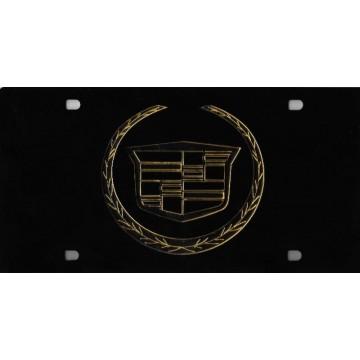 Cadillac Gold Logo On Black Laser Plate
