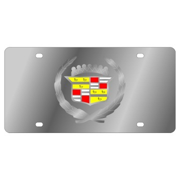 Cadillac Clear Logo Stainless Steel License Plate