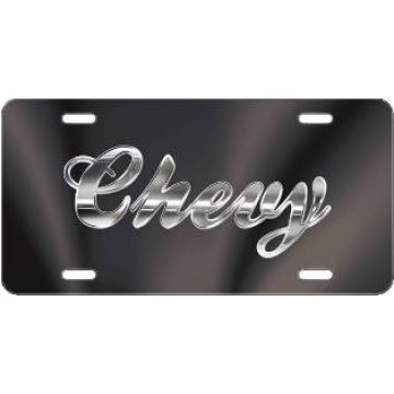 Chevy Script Black Laser License Plate