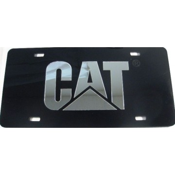 Caterpillar Black Laser With Silver Logo License Plate