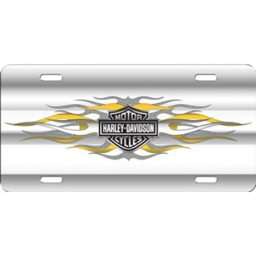 Harley-Davidson Bar And Shield with Flames License Plate