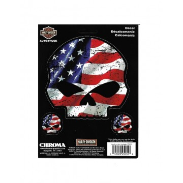 Harley-Davidson American Flag Willie G. Skull Decal